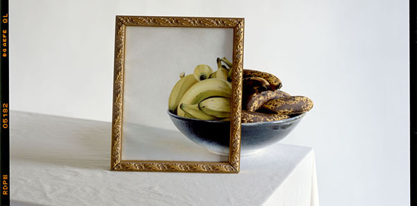 Bananas in Bowl with Painting on Table-detail